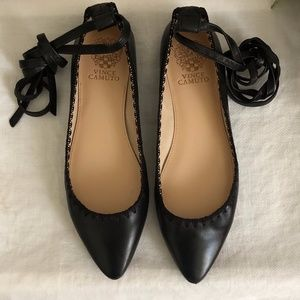 Vince Camuto Leather Lace Up Black Ballet …